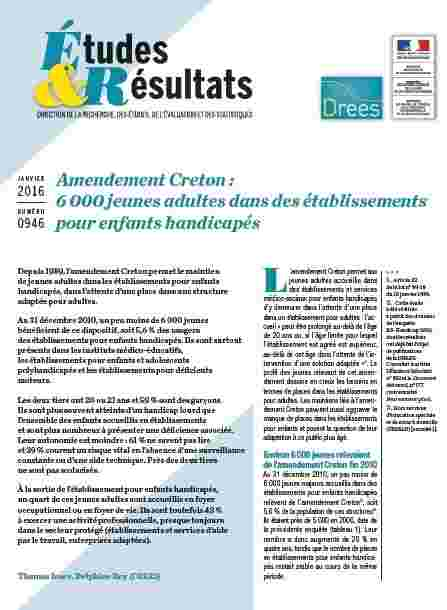 Amendement Creton étude Drees 2016
