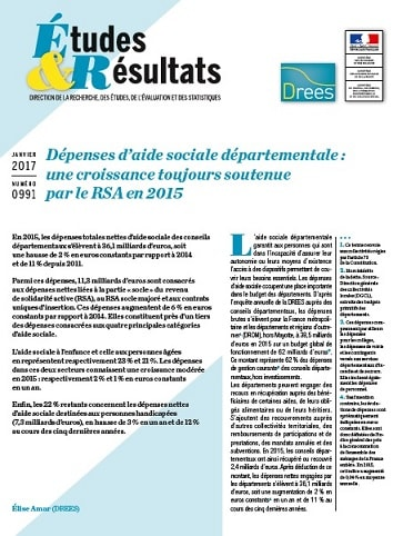 DREES depenses aide sociale departementale 2015