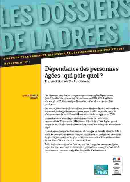 Drees depenses prise en charge personnes agees dependantes