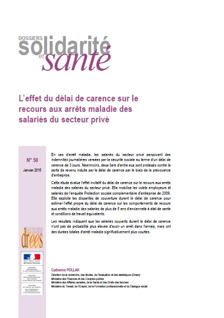 Vignette document L'effet du délai de carence sur le recours aux arrêts maladie des salariés du secteur privé